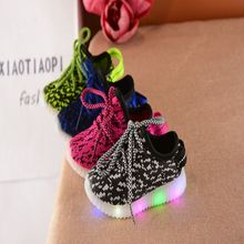 Children's shine LED shoes boys girls glowing sneakers kids lighted sports tenis infantil lace up casual shoes cotton fabric NQ2(China)