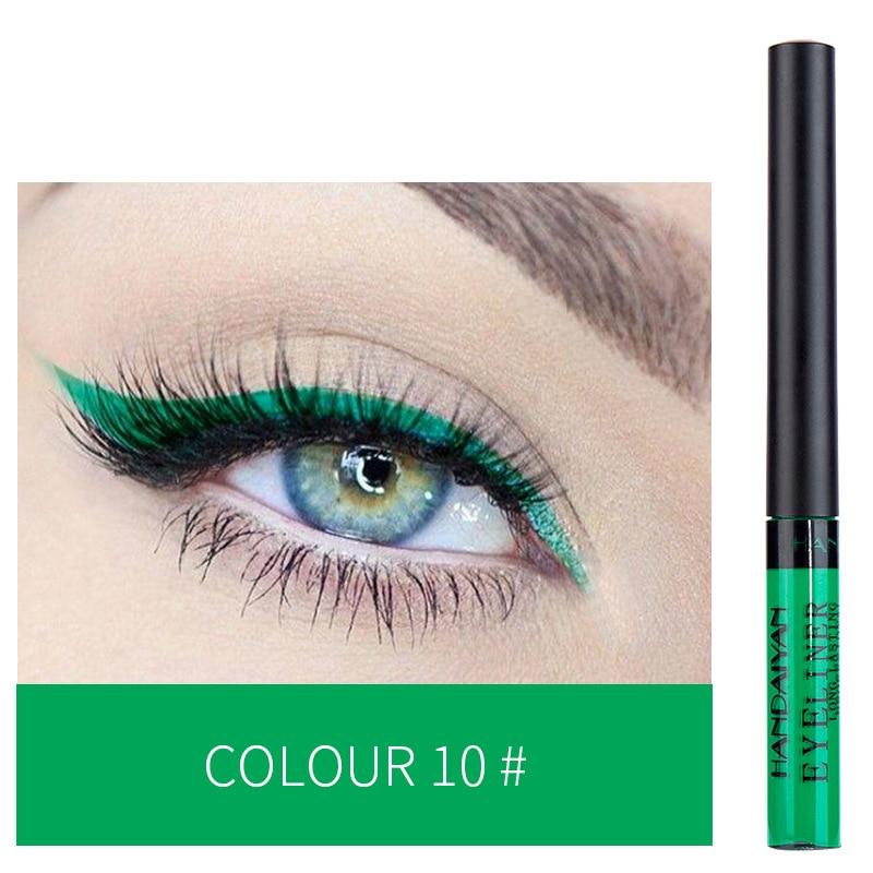 12 Color Eyeliner Liquid Waterproof Easy To Wear Make Up Matte Eye Liner Blue Red Green White Gold Brown Eyliner 12