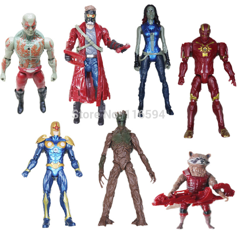 (6 pcs/lot) 2014 New Movie Guardians of the Galaxy PVC Action Figures Toy Doll Peter Quill/Rocket Raccoon/Groot/Gamora<br><br>Aliexpress