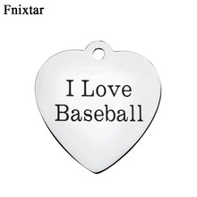 Fnixtar Top Quality Stainless Steel Letter I Love Baseball Heart Charms For Women Jewelry Making DIY Metal Charms 10pcs/lot(China)