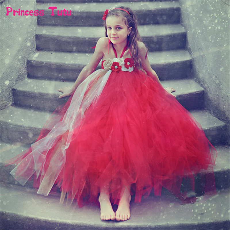 Handmade Flower Girl Tutu Dress Baby Kids Pageant Ball Gown Wedding Party Christmas Dress Tulle Red Girls Flower Dresses 1-14Y<br>
