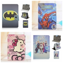 Batman Spider man Hello Kitty Anna Elsa Cartoon PU Leather Stand Cover Case Universal 7 Inch Cartoon Tablet Case(China)
