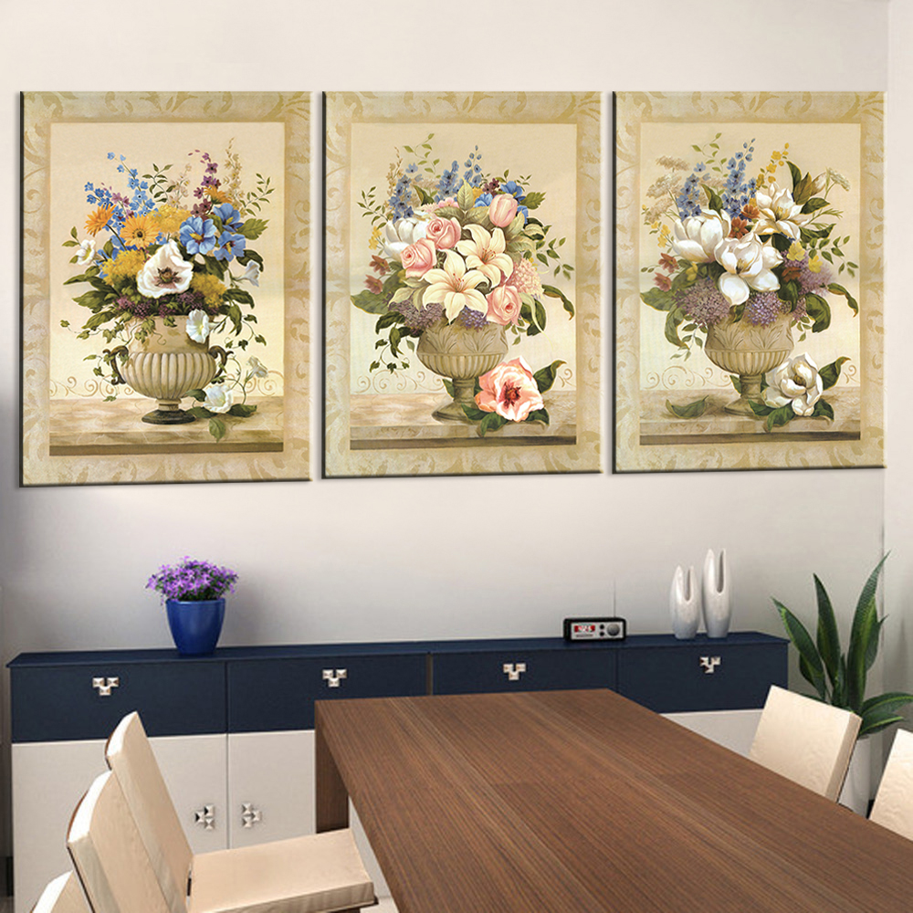 Oil Painting Canvas Print Home Decoration Modern Flower Picture Canvas Art Work Gift for Living Room Wall Poster 3pcs(China)
