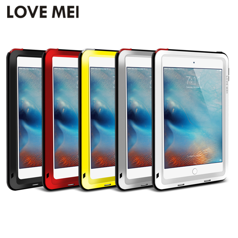 Love Mei Powerful Shockproof Aluminum Case Cover For Apple iPad Air/Air 2/Mini 2/3/4/5/6 CaseHeavy w/Gorilla Toughened Glass<br>