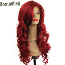 Bombshell 16-26 Inch Deep Wave Mix Wine Red Lace Front Synthetic Wig Heat Resistant Fiber With Side Bang For Black White Women