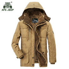 AFS JEEP 2017 Men's winter thicken warm hooded army green jacket coat man casual brand cotton khaki fleece thick jacket coats(China)