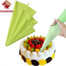Hourong 1Pc Green Silicone Piping Bags DIY Reusable Icing Fondant Cake Cream Nozzle Decorating Set Pastry Baking Tool