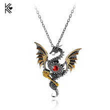 Vintage Gear Dragon Necklace Steampunk The Ancient Gear Pterosaurs Pendant Necklace Jewelry For Men Boyfriend Accessories Colar(China)