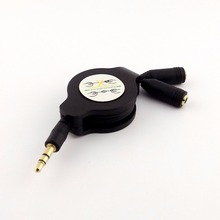 1pc Retractable Headphone Splitter 3.5mm Male to 2x Female Stereo Audio Aux Cable 1m
