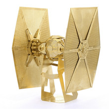 Star Wars TIE FIGHTER Golden 6 Inch 2 Sheets Creative Gift Brass  Metal Earth 3D Metal Model Etching Puzzle English Packaging