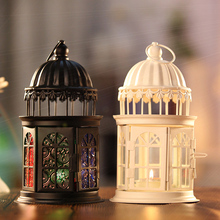 1PC Europe Style Castle Lantern Decorative Candle Holder Glass And Iron Weeding Candle Sticker Home Store Decoration Gift(China)