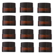 12pcs 20g Amber Glass Cream Jars Cosmetic Packaging with lid black plastic caps & inner liners round empty small glass jar pot(China)