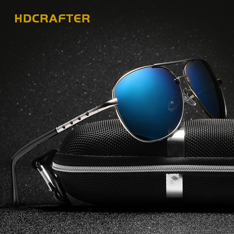 HDCRAFTER 2017 New sunglasses men vintage Polaroid  Oval Alloy Polarized Driving fishing Oculos seven colors available E002 Q40<br><br>Aliexpress