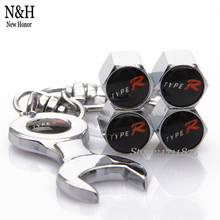 Car Stainless Steel Type-R TypeR Type R Logo For Honda CRV H-RV 4Pcs/Set Wheel Tire Valve Caps Stems With Mini Wrench Keychain