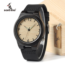 BOBO BIRD Unisex Wrist Watch Genuine Leather Men's Wooden Quartz Watch Made by Black Sandalwood With Gift Box(China)