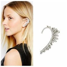 fashion full of rhinestone crystal earrings cuff wholesale flower ear cuff silver exaggerate clip earrings for women new E134