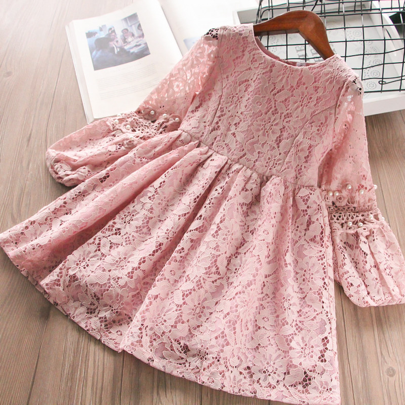 Cute Kids Girls Beading Lace Floral Hollow Out Princess Party Clothes Western Ruffles Candy Pink Beige White Color Dresses