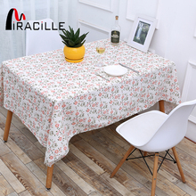 Miracille Romantic Linen Tablecloth Birds and Floral Print Rectangular Table Cover for Wedding Table Cloth Home Party Decoration(China)