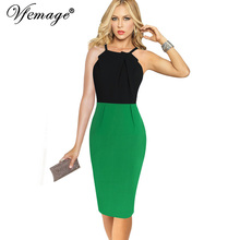 Vfemage Womens Celebrity Sexy Backless Cut out Contrast Patchwork Strappy Casual Party Club Evening Vestidos Bodycon Dress 6219