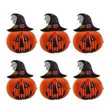 6 Pcs Halloween Paper Lanterns Three-dimensional Halloween Spooky Witch Hat Pumpkin Decoration(China)