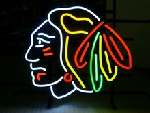 "Business NEON SIGN board For NHL CHICAGO BLACKHAWKS HOCKEY REAL GLASS Tube BEER BAR PUB Club Shop Light Signs 17*14""(China)"