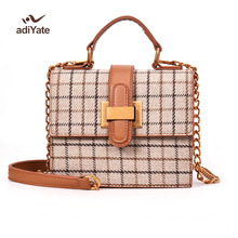 ADIYATE Woolen Plaid Stripes Flower Buckle Fashion Box Shape Ladies Clutch Bag Shoulder Bag Mini Bandbag Chain Purse Cheap 393(China)