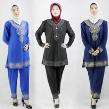 Stock -Crystal Cotton Rhinestone dubai abaya Muslim Pakistan clothing for women 2 pieces set islamic clothing 123189(China)
