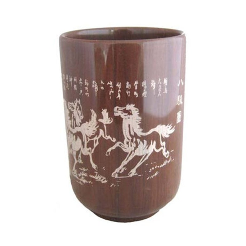 Eight horses carved Authentic Natural Muyu Stone Tea Cup&amp; Wooden Fish Stone Filter Energy Health Care Cup<br>