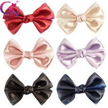 "30 Pcs/lot 6.5"" Handmade Satin Ribbon Bow For Girls Boutique Solid Hair Clip For Baby Children Satin Hair Accessories"