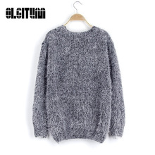 2017 New Autumn Women Sweater Warm Mohair O-Neck Women Pullover Long Sleeve Casual Loose Sweater Knitted Tops SW318