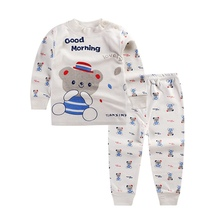 Fashion Boy's clothing set spring cotton baby boy sets children's pajamas suit sleepwear Bear/cow cartoon print t-shirts+pants