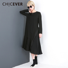 CHICEVER Chiffon Patchwork Pleated Dress Female Long Sleeve Loose Big Size irregular Black Women Dresses Clothes Fashion Casual(China)