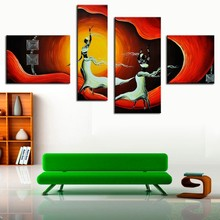 4 Pcs/Set No Framed African Woman Dancing Canvas Art Abstract African Women Painting Hand Painted African Figure Oil Painting