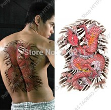 3pcs Temporary tattoo big large Red Dragon designs Waterproof body painting fake tatoo stickers cool men 2017 new free shipping