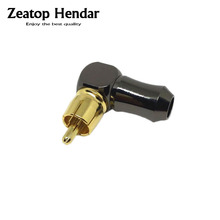 1Pcs New High Quality Gold plated Right Angle RCA Male Plug Audio Video Connector(China)