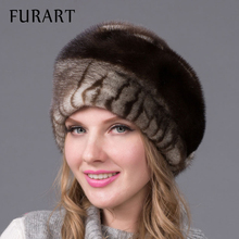 Russian winter fur hat for women real mink fur hat with diamond fashion hot sale women fur cap good quality ear protector DHY-43