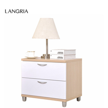 LANGRIA Brand White and Light Oak 2-Drawer Wood Cabinet Nightstand File Cabinet End Table Bedroom Furniture For Home France