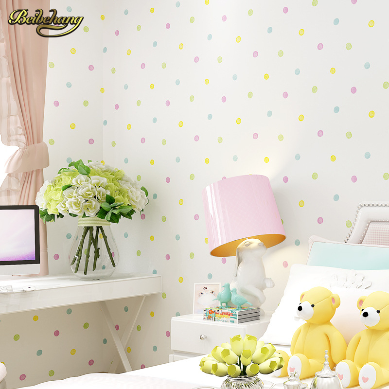 beibehang Environmental nonwovens wallpaper children bedroom bedroom wallpaper warm cartoon color circle little bit<br>