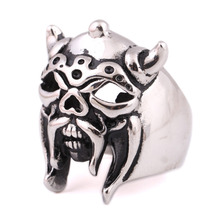 316L STAINLESS Steel Ring exaggerated retro Skull Pig Ring for man US size(China)