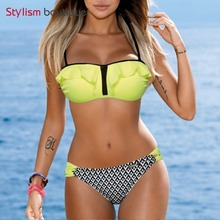 2017 Bikinis Set Women Bandeau Swimsuit Push Up Swimwear Women Sexy Print Brazilian Bikini Beach Bathing Suit Ruffle Swim Wear(China)