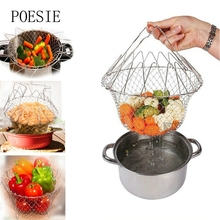 Foldable Steam Rinse Strain Fry Basket Mesh Basket Strainer Net Stainless Steel Colander Kitchen Gadgets Cooking Tools