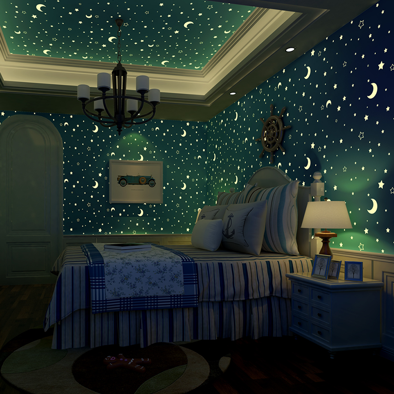 Stars And The Moon Non-woven Luminous Wallpaper Roll Childrens Room Bedroom Ceiling Fluorescent Wallpaper Decor Papel De Parede<br>
