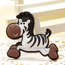 Classical Black and White Zebra fridge Magnets for kids Small Size Silicon Gel magnetic fridge magnet Animal Magnets(China)