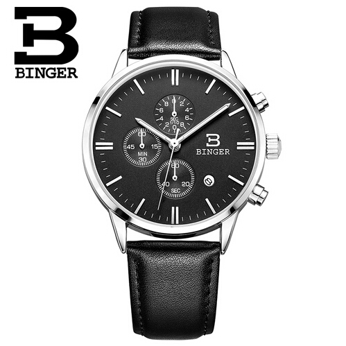 Switzerland Binger Man Watches Top Brand Luxury 6 hand Function Chronograph Watch Military Men Genuine Leather Quartz Wristwatch<br>