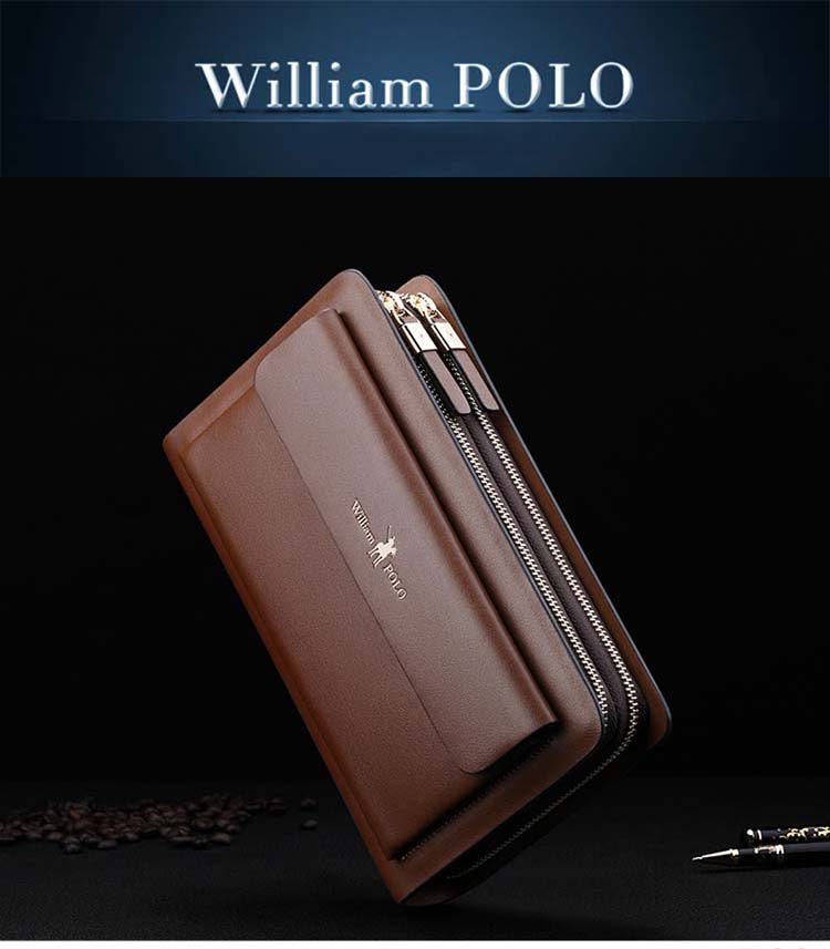 ac25ad26fcd8d Business Mens Brand Clutch Bags WILLIAMPOLO Real Leather Phone ...