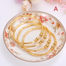 24k Gold Bangle for Women Gold  Dubai Bride Wedding Ethiopian Bracelet Africa Bangle Arab Jewelry Gold Charm kids Bracelet
