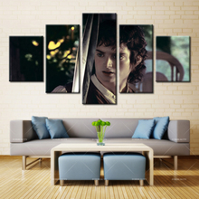 5 panel Modern Home Art Wall HD Picture Canvas printings Living Room Decoration Theme Curly Hair Handsome Men Swords
