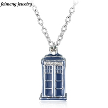 Movie Jewelry Blue TARDIS Necklace Doctor Who necklace Silver Long Chain Fashion Jewelry Brand Enamel House Pendant Necklace(China)