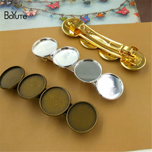 BoYuTe 20Pcs Hair Clip with 20MM Cabochon Base Tray Wholesale Antique Bronze Silver Gold Diy Hair Clip(China)