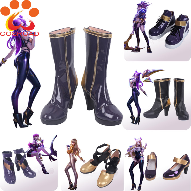 Cosroad LOL KDA Boot Ahri Kaisa Evelynn Akali Cosplay Costume Shoes Men Women Boots Halloween Party Boots